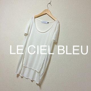 ルシェルブルー ホワイト無地tシャツ