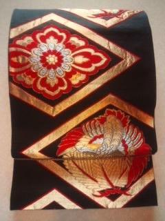 黒金銀*ヒシ形◆正絹袋ナゴヤ帯美品定形外