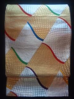 金銀カラフルライン袋帯正絹ナゴヤチョー美品送込