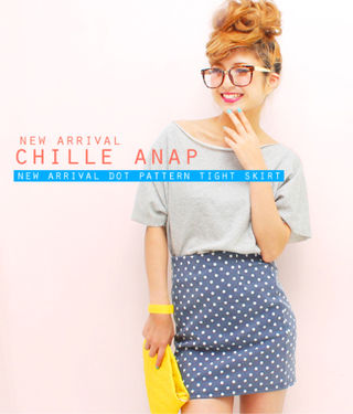 ANAP CHILLEドットスカートピンク