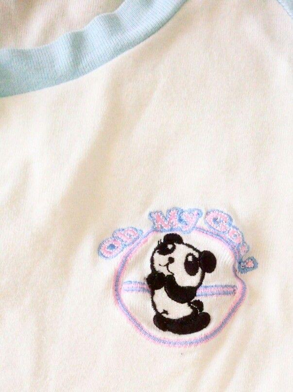 パンダ半袖TシャツM白×水色