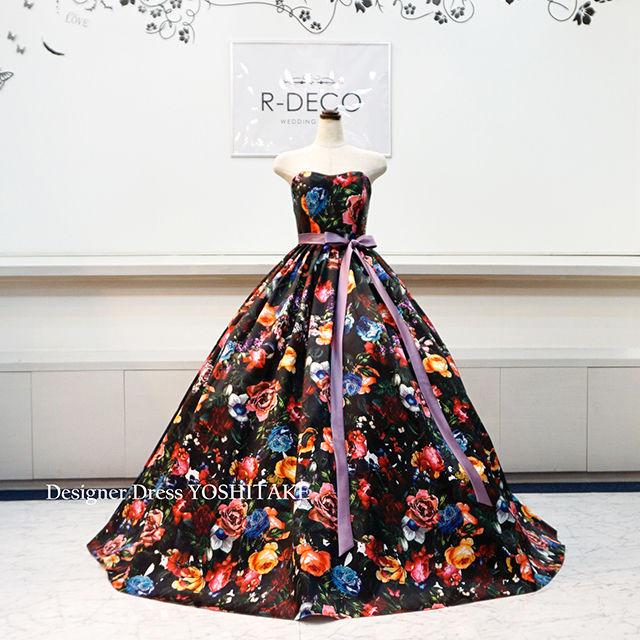ウエディングドレス(パニエ無料) 黒ベース花柄ドレス