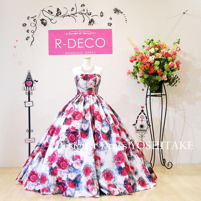 ウエディングドレス(パニエ無料) オフホワイトベース/花柄
