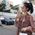 プチプラ 韓国ファッション ツイード  フレア ワンピース
