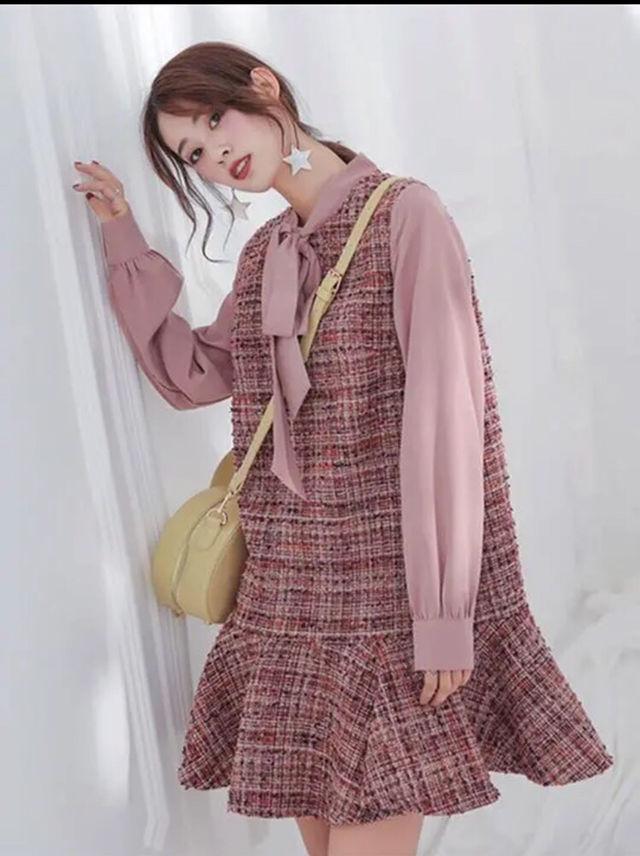 プチプラ 韓国ファッション ツイード  フレア ワンピース - フリマアプリ&サイトShoppies[ショッピーズ]