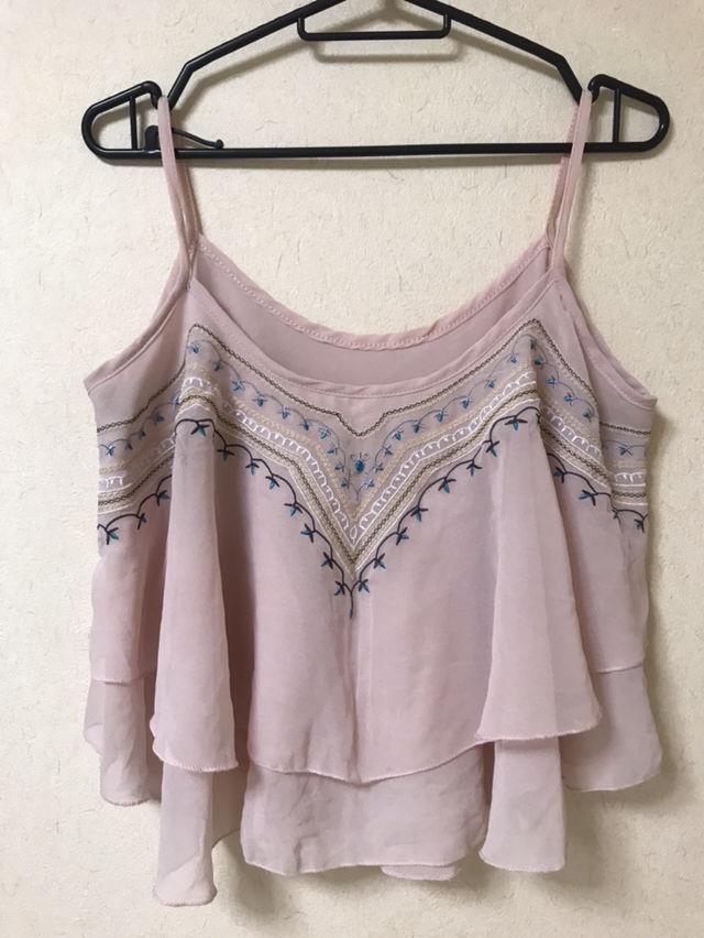 ピンク 刺繍 キャミソール