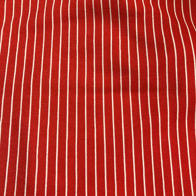 赤色地に白いストライプ ストレッチ生地 変形の訳あり 布