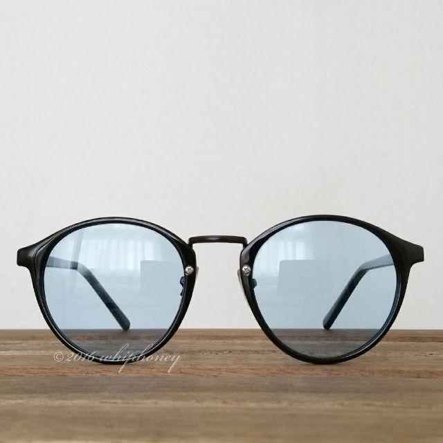 レトロクラシックボストンUVライトスモークサングラス黒ブルー