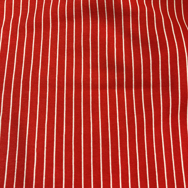 赤色地に白いストライプ ストレッチ生地 子供用Tシャツにも