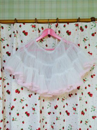白パニエ裾ピンク