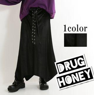 【DrugHoney】ベロアスピンドルアシメスカート F