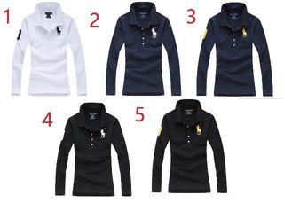 132新品ポロ ラルフローレン/Tシャツ女性用長袖10色