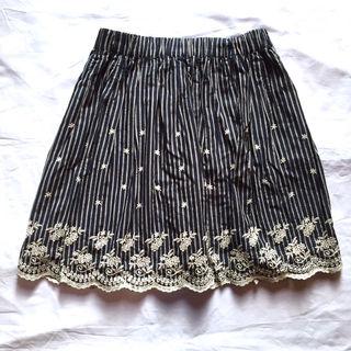 BEAMS花柄刺繍ストライプスカート ビームスハート