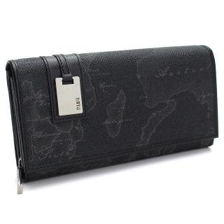プリマクラッセ 長財布2つ折り ブラック 地図柄