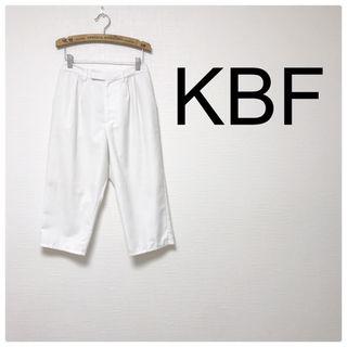 49美品KBF 白 クロップドパンツ ウエストゴム