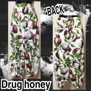 【新品/Drug honey】脳茘枝柄スリットサルエルパンツ