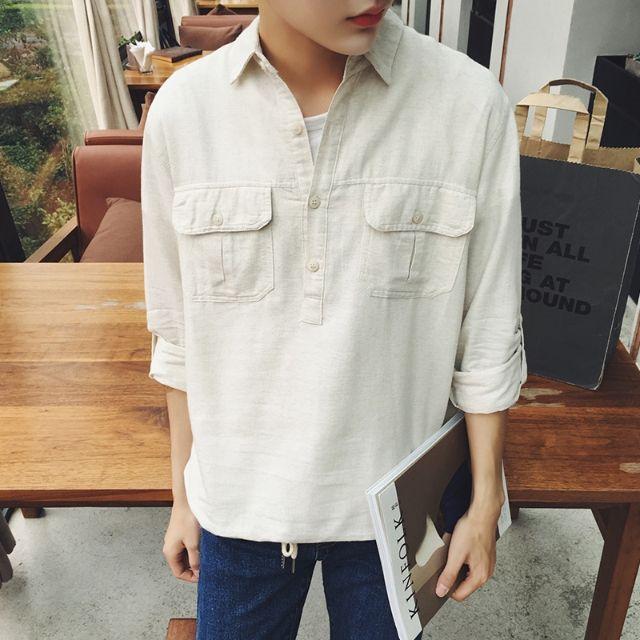 シャツ新品メンズシャツ長袖カジュアルおしゃれ麻D8-3 - フリマアプリ&サイトShoppies[ショッピーズ]
