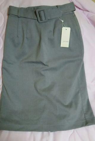 pink adobeグレーベルト付きタイトスカート