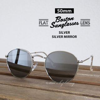 ボストン フラットレンズ サングラス 銀縁シルバーミラー