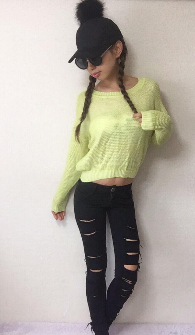 03・MURUAパステルかぎ編みニット/F/黄色/長袖