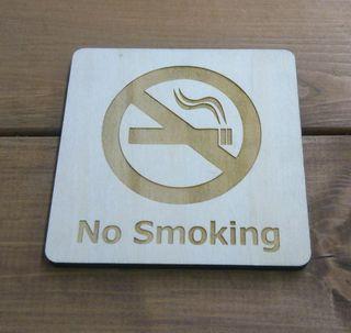 木製サインプレート No Smoking 禁煙 ハンドメイド