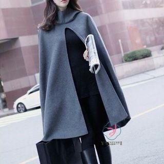 フード付き ポンチョ コート グレー 体型カバー 灰色 M
