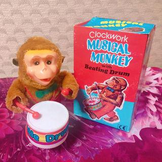 【レトロ】 musical monkey 猿の太鼓叩き