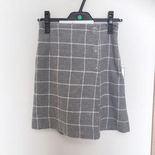 キュロット チェック グレー ラップスカート