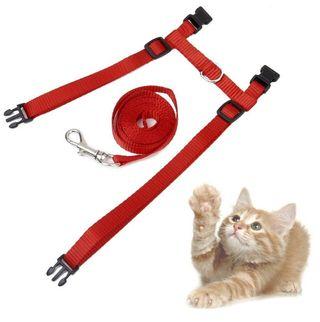 ネコ用ハーネスリードセット 胴輪セット (赤)