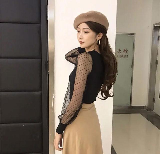 セール新品韓国風セクシーVネックレース袖ニットトップス