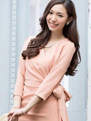 ◆新品◆ドレス 結婚式 お呼ばれ ワンピース 七分袖 L