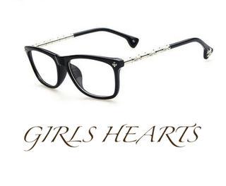 送料無料マットブラッククロムシルバークロス眼鏡メガネめがね