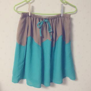 POU DOU DOU 緑×茶スカート