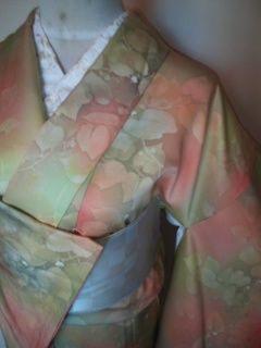 オレンジボカシリーフ*小紋正絹袷154未使用