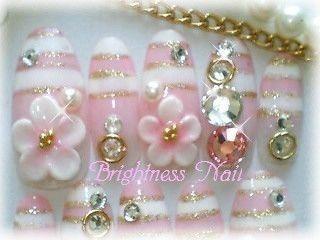 ピンクマリンボーダーお花Jewelryラインネイル