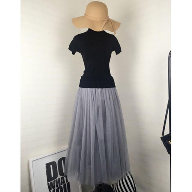【華蓮】チュール スカート グレー ロング丈 3層