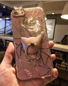 iPhone7 ケース 猫 スタンド付 キラキラ  ピンク