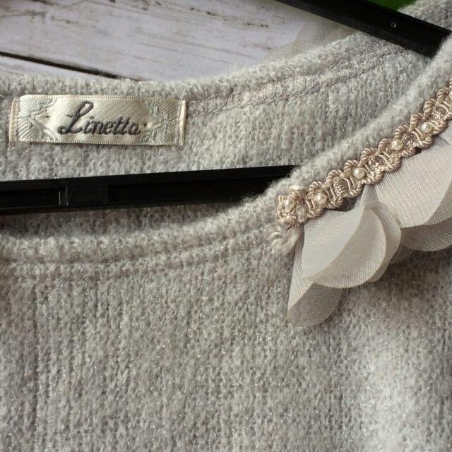 美品!リネッタお花つき袖フェザーニットデザインセーター