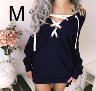 新品胸元編み上げシンプルワンピース ネイビー M