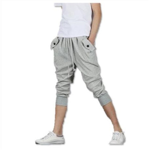 メンズ スウェット パンツ 7分丈 ボタン付 ハーフ  XL