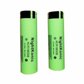 2個/ロット18650電池nightkonic(グリーン)