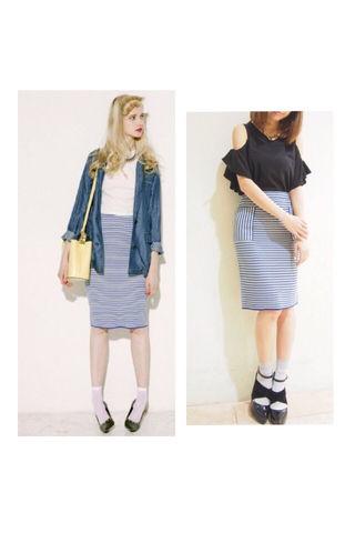 新品 MURUA マルチボーダータイトスカート