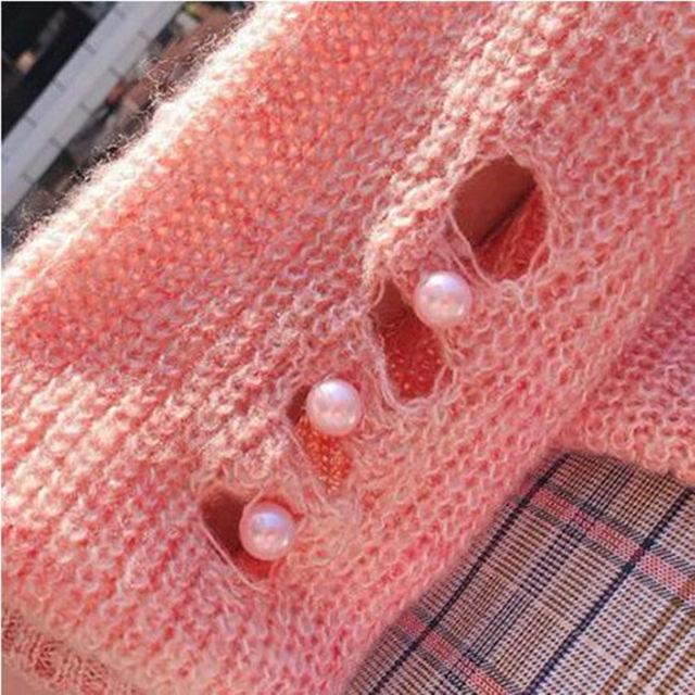 【人気爆発中!】セーター ピンク 長袖 穴あき ビーズ