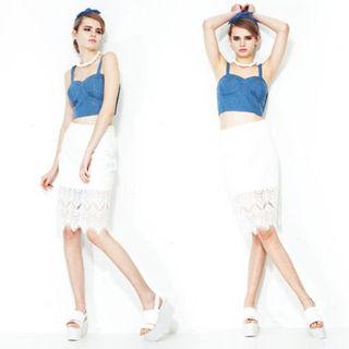 GROWZE スカラップレースタイトスカート