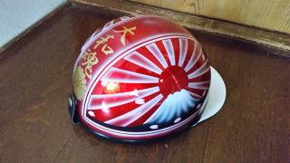 新品塗装 桜 富士日章 コルク半 ヘルメット 赤ラメ