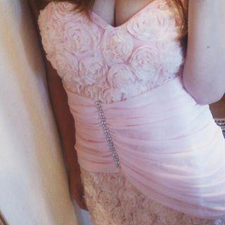 今期新作ドレス♪立体ローズウエストドレープベアミニドレス♪