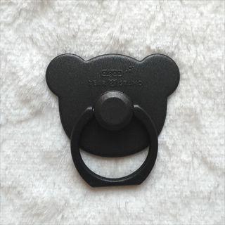 セール中♪ クマ型 スマホリング ブラック