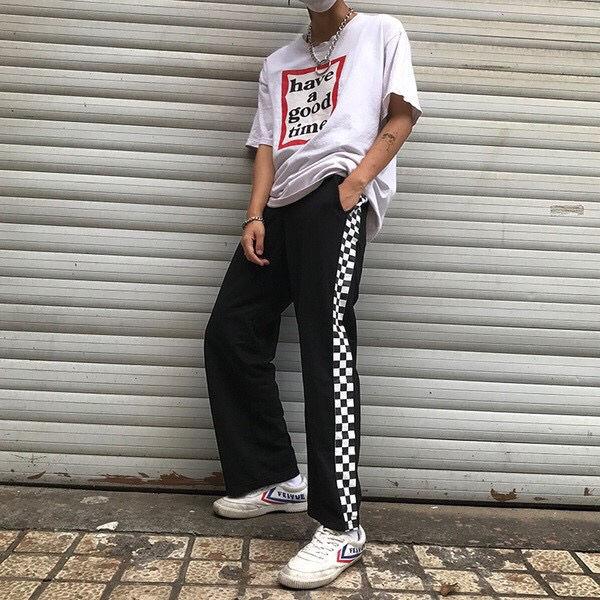 チェック柄 ラインパンツ 韓国系 ストリート系 ブラック 黒