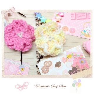 ハンドメイドゆめかわいいお花の毛糸ヘアピン2こset