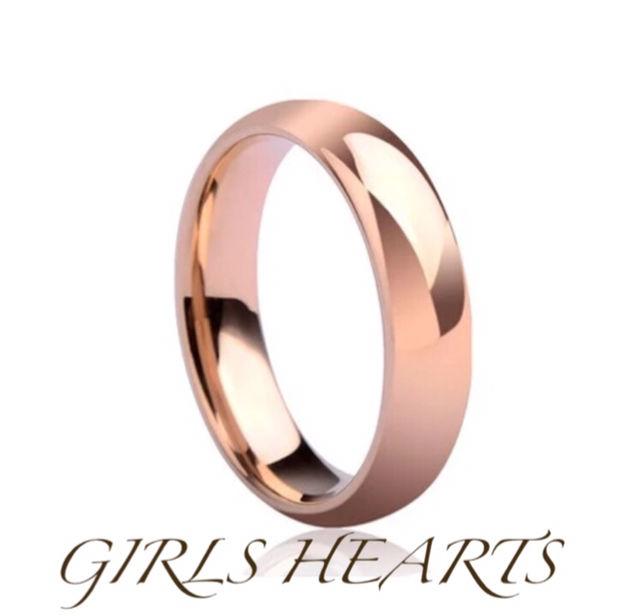 送料無料8号ピンクゴールドサージカルステンレスリング指輪